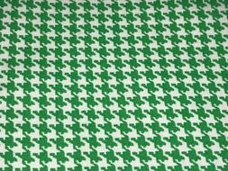 1/2 Yd Green & White Houndstooth Pattern Cotton Quilt Fabric