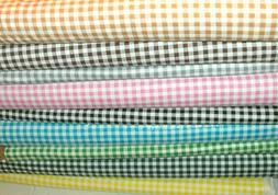 "1/4"" Gingham Checks Quilt Fabric U Pick Red Green Black Yell"