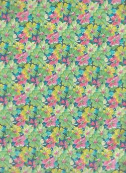 1 Yard Floral fabric 100% Cotton-Pink/Green quilt,sew mask m