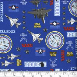 1 Yd Military Novelty Quilt Fabric Air Force Planes Seals on