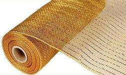 10 inch x 30 feet Deco Poly Mesh Ribbon - Gold/Brown with Me