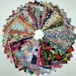 """100 Assorted Floral pre cut charm pack 5"""" squares 100% cotto"""