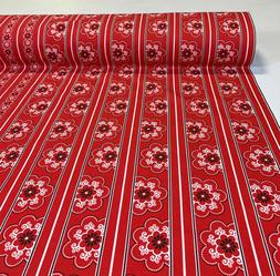 """100% Cotton Bandanna Quilt Fabric Red Floral Stripe 45""""W Rob"""