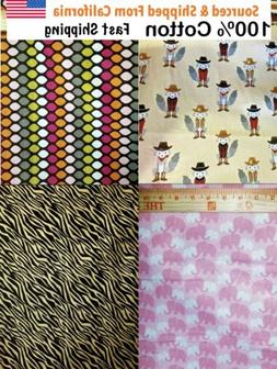 """100% Cotton Fabric For Making Mask 44 """" wide Assorted Prints"""