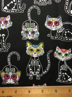 100% Cotton Fabric SUGAR SKULL CATS Wow! DIY Mask / Quilting
