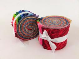 2.5 inch Rainbow swirl Jelly Roll 100% cotton fabric quiltin