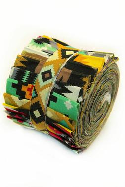 2.5 inch Aztec Tribal Jelly Roll 100% cotton fabric quilting