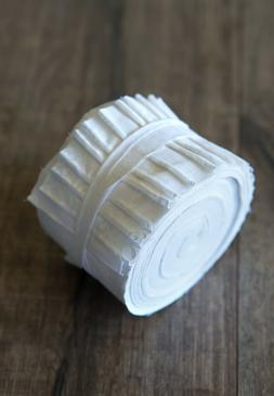 2.5 inch White on White Jelly Roll 100% cotton fabric quilti