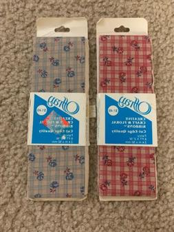 2 of Old Stock Vintage Offray Fabric Ribbon Flower Pattern M