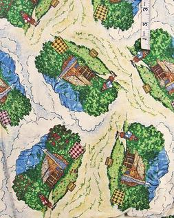 2+ yd Cabin w/Woman with Quilt Pictorial Print Cotton Fabric