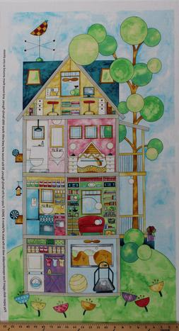 """28"""" X 44"""" Panel Doll House Sewing Room Whimsical Cotton Fabr"""
