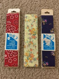 3 of Old Stock Vintage Offray Fabric Ribbon Flower Pattern M