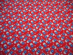 30s Reproduction Fabric By Half-Yard Blue Floral White on Re