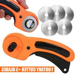 45mm Rotary Cutter + 5Pcs Blades Sewing Quilting Fabric Craf