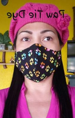PAW TIE DYE HANDMADE FACE MASK NEW COTTON FABRIC MADE IN USA