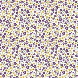 Anise's Floral small flowers toss Purple 100% Cotton Fabric