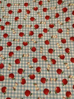 Apples on Gingham Fabric By the Half Yard 100% Cotton