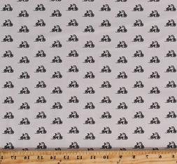 Bikes Small Bicycles on White Transportation Cotton Fabric P