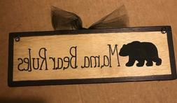 BLACK MAMA BEAR RULES wood Sign country kitchen lodge cabin