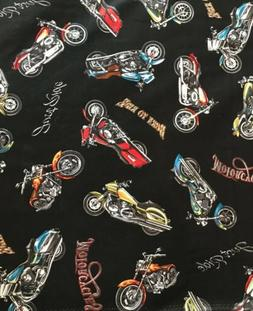 Black Motorcycle - Just Ride BTY  Cotton Fabric