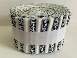 "Blue and White Jelly Roll 20  2.5""  strips 100% Quilting Cot"
