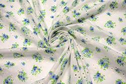 Blue Perforated 100% Cotton Lawn Fabric Floral Embroidered 5