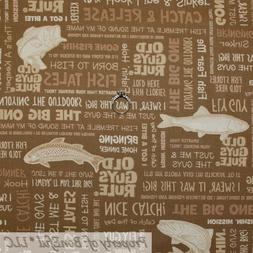 BonEful FABRIC FQ Cotton Quilt Brown Fish Word Old Guys Rule