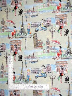 Bridgets Travel Paris Rome Girl Shop Cotton Fabric Springs C