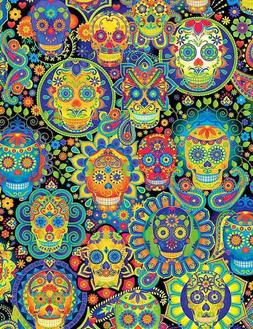 Timeless Treasures Bright Candy Skulls 100% cotton fabric by