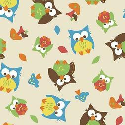 SPRINGS CREATIVE PRODUCTS BRIGHT OWL ALLOVER MUSHROOMS BEIGE