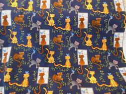 "BTY Fun CATS Novelty 100% Cotton Fabric 44"" Wide By Fabric T"