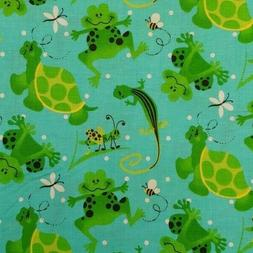 BY THE YARD Turtles Frogs Grasshoppers Geckos Bees 100% Cott