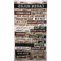 CABIN RULES fabric panel from Timeless Treasures #4807 Lake