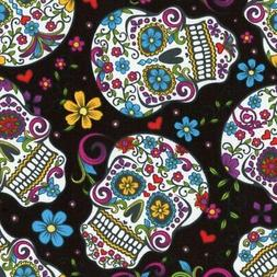 David Textiles Calavera Sugar Skull folkloric Black Cotton f