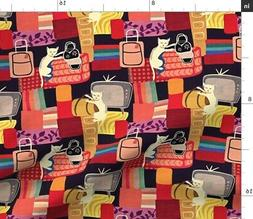 Cats Deco Retro Mod Fabric Printed by Spoonflower BTY