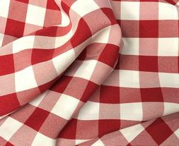 "Checkered Gingham Tablecloth Fabric - 60"" Wide- By the Yard"
