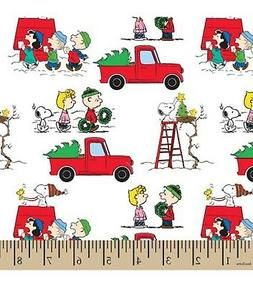 Christmas Fabric - Peanuts Snoopy Holiday Red Pickup Truck -