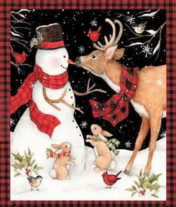 CHRISTMAS WINTER SNOWMAN WITH REINDEER COTTON FABRIC BY THE