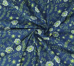 Cotton Fabric Jersey Knit By The the Yard  Flower Print #8 7