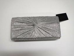 D'MARGEAUX Womens Silver Glitter Fabric Ruched Knot Clutch N