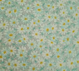 Daisy Calico Floral BTY Fabric Traditions Aqua Blue & White