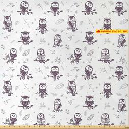 Lunarable Doodle Fabric By The Yard, Silhouette Owl Characte