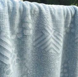 Dusty Pale Blue Jacquard Patterned Novelty Knit Fabric Sold