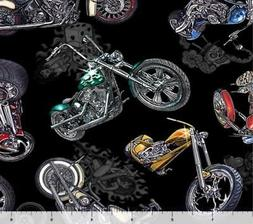 Easy Rider Motorcycle Fabric 100% Quilters Cotton Skull Dice