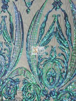EMPIRE SEQUINS ROYAL DRESS FABRIC - Mermaid Green - BTY FASH