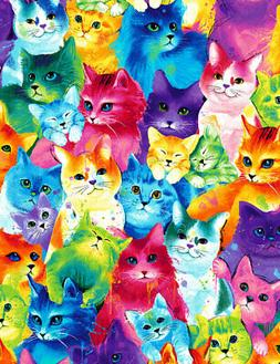 Fabric Cats Neon Rainbow Watercolor Full Cotton Timeless Tre