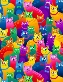 Fabric Cats Rainbow Bright Packed on Cotton Timeless Treasur