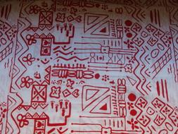 """Fabric Geometric pattern white red 43"""" X 36"""" Fabric BTY #108"""