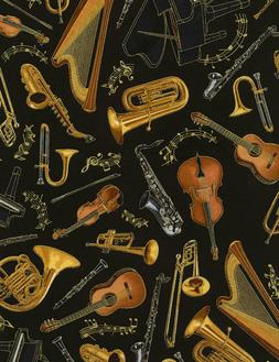 Timeless Treasures Fabric MUSICAL INSTRUMENTS ON BLACK- yard