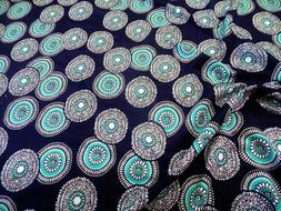 Fabric Printed Spandex 4 way Stretch Turquoise Navy White Fl